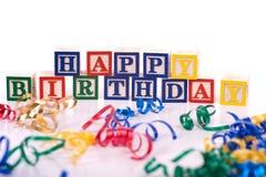 födelsedagen blockerar lyckligt arkivbild