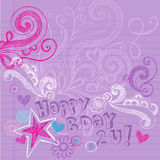födelsedagen klottrar den sketchy vektorn för den lyckliga anteckningsboken Royaltyfria Foton