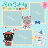 Födelsedagfotoramar med gulliga katter Den dekorativa mallen för behandla som ett barn, familjen eller minnen Urklippsbokvektoril vektor illustrationer