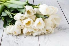 Födelsedaggåva, naturliga vita tulpan på det vita brädet Arkivbilder