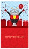 Födelsedaghälsningar med roboten Arkivfoton