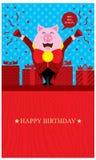 Födelsedaghälsningar med svinet Royaltyfri Foto