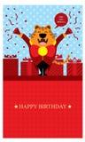 Födelsedaghälsningar med tigern Royaltyfria Foton