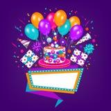 Födelsedaghälsningkort, baner med utrymme för text stock illustrationer
