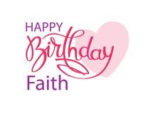 Födelsedaghälsningkort för tro Elegant handbokst?ver och en stor rosa hj?rta Isolerad designbest?ndsdel vektor illustrationer