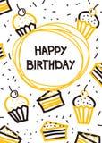Födelsedaghälsningkort med muffin och kakor vektor illustrationer