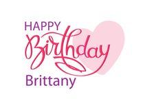 Födelsedaghälsningkort med namnet Brittany Elegant handbokst?ver och en stor rosa hj?rta Isolerad designbest?ndsdel arkivfoto
