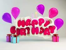 Födelsedaghälsningkort med text för lycklig födelsedag i en mjölkafärgstänk, stearinljus, ballonger och gåvaaskar illustration 3d Royaltyfri Bild