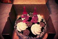 Födelsedagkaka 24 Fotografering för Bildbyråer
