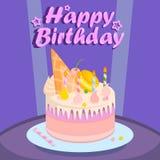 Födelsedagkaka för parti på purpurfärgad bakgrund royaltyfri illustrationer