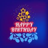 Födelsedagkaka från inskriften och stjärnorna stock illustrationer