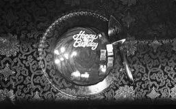 Födelsedagkaka i svartvitt Royaltyfri Foto