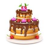 Födelsedagkaka med chokladkräm och körsbärvektorn illustration vektor illustrationer