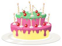 Födelsedagkaka med körsbär och stearinljus Stock Illustrationer