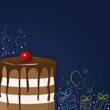 Födelsedagkaka med körsbäret, gåvor, struntsaker och stjärnor vektor illustrationer