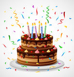 Födelsedagkaka med konfettier Royaltyfria Foton