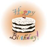 Födelsedagkaka med kräm och körsbäret Royaltyfri Foto