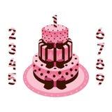 Födelsedagkaka med rosa stearinljus för flickor Royaltyfria Bilder