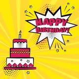 Födelsedagkaka med stearinljuset och den vita anförandebubblan med ord för LYCKLIG FÖDELSEDAG på orange bakgrund ocks? vektor f?r stock illustrationer