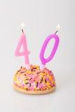 Födelsedagkaka och stearinljus för ålder 40 Arkivfoto