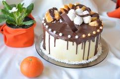 Födelsedagkaka som täckas med choklad Fotografering för Bildbyråer