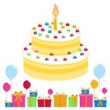 Födelsedagkakan sväller och gåvor stock illustrationer