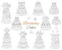 Födelsedagkakor ställde in, drog klotterillustrationen för vektorn handen stock illustrationer