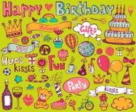 Födelsedagklottersymboler vektor illustrationer
