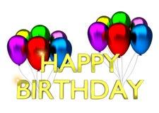 Födelsedagkort med ballonger och födelsedagtext Fotografering för Bildbyråer