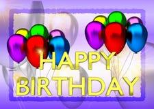 Födelsedagkort med ballonger och födelsedagtext Arkivfoto