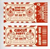 Födelsedagkort med cirkusbiljetten Fotografering för Bildbyråer