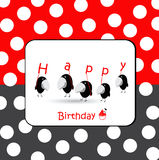 Födelsedagkort med fåglar royaltyfri illustrationer