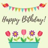 Födelsedagkort med fåglar och blommor stock illustrationer