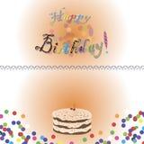 Födelsedagkort med födelsedagkakan och text Royaltyfria Bilder