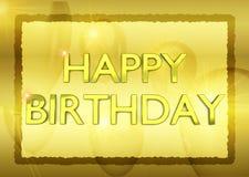 Födelsedagkort med guld- partiballons på bakgrund Royaltyfri Bild