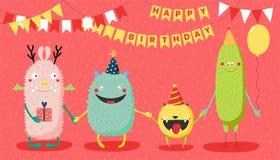 Födelsedagkort med gulliga roliga monster royaltyfri illustrationer