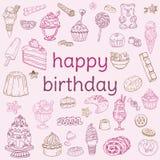 Födelsedagkort - med hand tecknade element vektor illustrationer