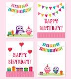 Födelsedagkort med i rosa färgfärg stock illustrationer