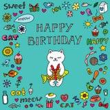 Födelsedagkort med katten Arkivfoto