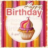 Födelsedagkort med muffin och text Royaltyfri Fotografi