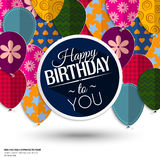Födelsedagkort med pappersballonger och födelsedag Fotografering för Bildbyråer