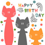 Födelsedagkort med katter Royaltyfria Bilder
