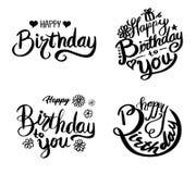 födelsedagkort skapar lyckliga bildinbjudningar för hälsning mitt liknande för portfölj för deltagare var god set till bruksvisit stock illustrationer