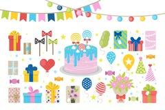 födelsedagkort skapar lyckliga bildinbjudningar för hälsning mitt liknande för portfölj för deltagare var god set till bruksvisit royaltyfri illustrationer