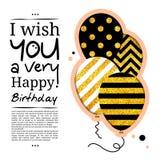Födelsedagkortet i stilen av utklipp med ballonger på guld- blänker bakgrund vektor vektor illustrationer