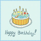 Födelsedagkortet med kakan på blått texturerade bakgrund Royaltyfria Bilder