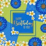 Födelsedagkortet med ramen dekorerade med blommor och retro bakgrund för tappning Royaltyfria Foton
