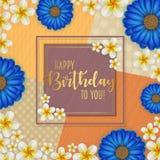 Födelsedagkortet med ramen dekorerade med blommor och retro bakgrund för tappning Royaltyfri Foto