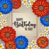 Födelsedagkortet med ramen dekorerade med blommor och retro bakgrund för tappning Royaltyfria Bilder