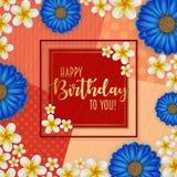 Födelsedagkortet med ramen dekorerade med blommor och retro bakgrund för tappning Arkivbild